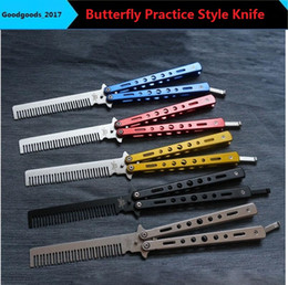 Wholesale Comb Blades - Butterfly Non Sharpening Folding Knife Blade Practice Butterfly Shake Knife Comb Training Butterfly Practice Style Knife MM0148