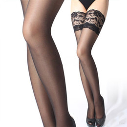 Wholesale Lace Over Knee Stockings - Womens Sexy Sheer Lace Non-slip Silicone Stocking Band Stay Up Thigh High Stockings Pantyhose lingerie Over Knee Free Shipping