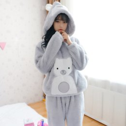 Wholesale Pajama Sets For Girls - Wholesale- 2016 winter pajama women flannel animal pajama sets female sleepwear bear  girl  coral fleece pijamas mujer For Women Payamas