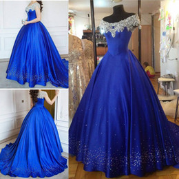 Wholesale Short Sleeve White Debutante Gowns - Cinderella Ball Gown Quinceanera Dresses Debutante Crystal Puffy 2017 Prom Gowns Royal Blue Beads Masquerade Pageant Dress