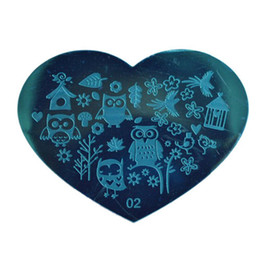Wholesale Heart Nail Polish - LEARNEVER Love Heart 3D Nail Art Stamping Plates Stainless Steel Polish Template 1 Pcs Stencils For Nails