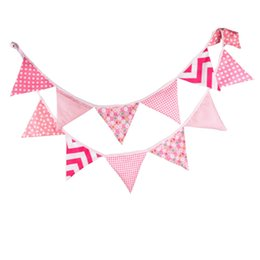 Wholesale wholesale fabric bunting - Wholesale- 12Flags 3.2m Pink Vintage Fabric Bunting Handmade Personality Wedding Birthday Party Decoration Photo Prop Room Garland