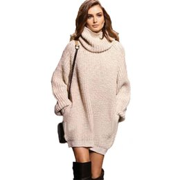 Wholesale High Neck Turtlenecks - Wholesale- Large size Women Knitted Sweaters fashion Apricot Thick warm pullovers Turtleneck loose pocket knit sweater High Neck Jumper
