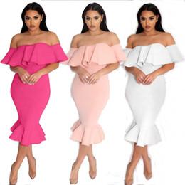 3 colores mujeres sirena vestido de moda volantes sin mangas de la vendimia del vestido de la columna elegante de las señoras vestidos de fiesta por la noche desde fabricantes