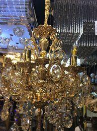 Wholesale Gold Lighting K9 Crystal Lamp - middle east design chandelier lights direct sale western-style LED crystal lamp zinc base alloy jade LED lamp cup 15 K9 quartz lamp