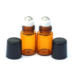 Wholesale Hot Stamping Bottle - Empty Mini 2ml Perfume Liquid Roll Amber Glass Bottle Essential Oil Liquid fragrance Sample Metal Roller on Bottle