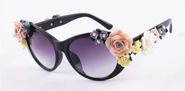 Wholesale Unique Amber - 2017 Unique Design CAT EYE Flower Sunglasses Women Brand fashion glasses female summer Beach oval roses eyewear oculos de sol