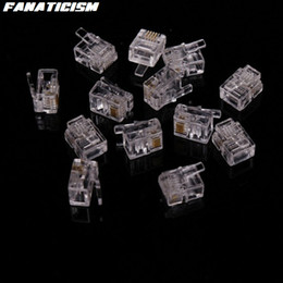 Wholesale High Telephone - Fanaticism High Qulaity 6 Pin 4 Contacts RJ11 RJ-11 Adapter Modular Plug 6P4C Telephone Phone Connector Crystal Head Adapter