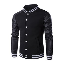Wholesale Cool Fashion Jackets - Wholesale- Cool College Baseball Jacket Men 2016 Fashion Design Black Pu Leather Sleeve coat Slim Fit Varsity Jacket Brand Veste Homme