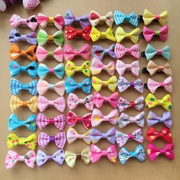 "Wholesale Hair Dot Bows - 100pcs lot 1.4"" handmade kids baby girls hair accessories Wave point dot bow clip hairpin hair clip children hair Barrettes jewelry"