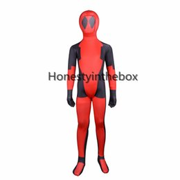 Wholesale Make Body Suit - Children Deadpool Costume Kids Red And Black Full Body Lycra Spandex BodySuit Child Superhero Deadpool Zentai Suit Top Quality