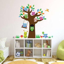 Wholesale Tree Birds Wall Decor - 3018 Removable Night Owl Wall Stickers Large Tree Wall Decals DIY Bird Animal Home Decor for Kids Rooms
