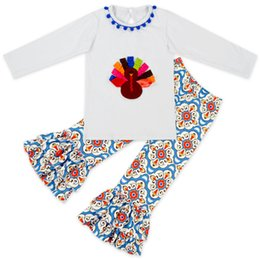 Wholesale Wholesale Clothing Turkey - Thanksgiving Day Turkey Baby Kids clothing Outfits T shirt + FAUX SUEDE bell-bottoms Pant set 2017 Hotsale 1-6years