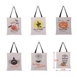 Bolsas de lona portátiles de Halloween Trick or Treat Calabaza Web de araña Bruja Fantasma Patrón de día Regalos de caramelo Bolsas grandes plegables desde fabricantes