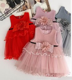 Wholesale Babies Clothes Shops - 2017 Autumn New Baby Girl Dress waist flowers gauze Sleeveless Vest Skirt Children Clothing free shopping