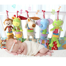 Wholesale Doll Prams - Wholesale- Baby Boys girls plush doll stuffed toys for Children pram stroller bed bell toy infant hanging toys brinquedos LF148