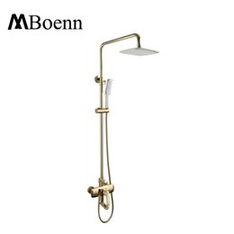 Wholesale Faucet Showerhead - Wall Mounted Brass Bath Showerhead System Gold Black Rainfall Shower Head Hot Cold Shower Faucets Set Spout With Handheld Shower