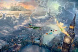 Wholesale Oil Painting Fly - Tinkerbell and Peter Pan fly to Neverland Thomas Kinkade Forest Fantasy Oil Paintings Art Print On Canvas No Frame