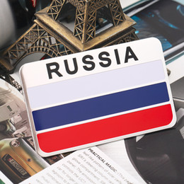 Wholesale Flag Car Decals - Wholesale- Stylish 3D Aluminum Russian Flag Pattern Square car Stickers Decal Car Window Door Durable to Heat and Sunlight For Protection