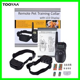 Wholesale Remote Electric Pet Training Collar - 300M Remote Anti Barking Pet Dog Training Collars with LCD Dispaly 100LV 300 Yard Electric Shock Vibration Pets Dogs Agility Training Tools