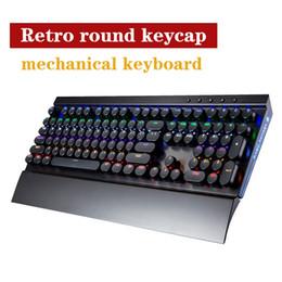 Wholesale Dustproof Computer Keyboards - Round keycap Retro optical axis Mechanical keyboard, dustproof waterproof gaming LOL gaming keyboard, computer wired keyboard