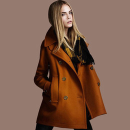 Wholesale Cotton Wide Shawls - 2017 new fashion Autumn Winter High quality Long Sleeve coats woollen shawl Blends Double Breasted Women Wool coats Plus size