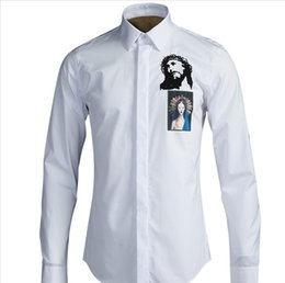 Wholesale Beauty Clothing - Luxury Brand Clothing 100% Cotton Man Shirt Printing Jesus Beauty Original Design Casual Slim Fit Long Sleeve Shirts