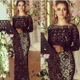 Wholesale Evening Dress Jacket Taffeta - Black Full Lace 2017 Evening Dresses Bateau Long Sleeves Floor Length Saudi Arabic Styke Prom Gowns