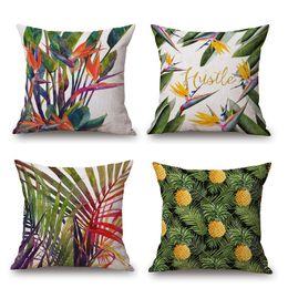 Wholesale Pink Flamingo Bird - Green Leaf Cushion Cover Pineapple Parrot Flamingo Birds Pillow Cover Thin Linen Pillow Cases 45X45cm Decorative Bedroom Sofa Decoration