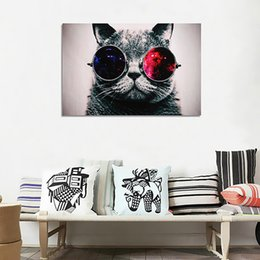 Wholesale Painted Glass Art - Unframed Cool Cat With Big Glasses Wall Art Oil Painting On Canvas Paintings Picture Decor Living Room Decor