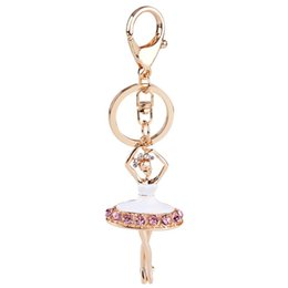 Wholesale Girls Pink Ballet Bag - Lovely Ballet Girl Keychain for Women Girl Bag Charm Pendant - Rhinestone Purse Bag Buckle Key Chains Ring Car Keyring Jewelry