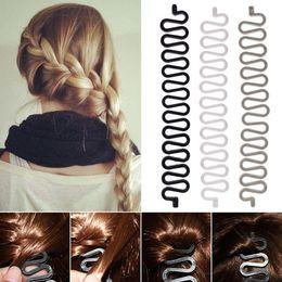 Wholesale Indian Hair Buns - Fashion French Hair Braiding Tool Roller With Magic hair Twist Styling Bun Maker Headband Hair Clip