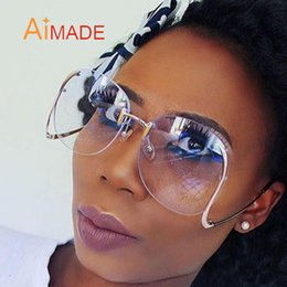Wholesale Unique Sunglasses Wholesale - Wholesale-Aimade Big Rimless Gradient Classic Sunglasses For Women Luxury Metal Frame Vintage Unique Oversized Sun Glasses UV400 oculos