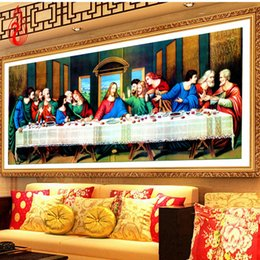 Wholesale Canvas Mosaic - YGS-288 DIY 5D Diamond Embroidery The last Supper Round Diamond Painting Cross Stitch Kits Diamond Painting Mosaic Home Decor