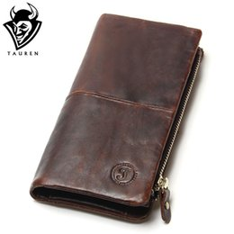 Wholesale First Slot - Wholesale- The 2017 New First Layer Of Real Leather Men's Oil Wax Retro High-Capacity Multi-Card Bit Long Wallet Clutch Men Genuine