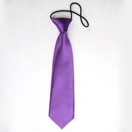 Wholesale Elastic Tie School - Wholesale- 2016 New Arrival Purple Fashion School Children Pre Tied Kids Boy Girl Elastic Wedding Party Necktie Tie