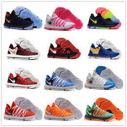 Wholesale 2017 Top quality FMVP KD EP X Elite Mens Basketball Shoes for Warriors Home Colors Wolf Kevin Durant s KD10 Sports Sneakers US Box