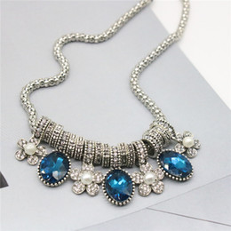 Wholesale Colorful Pearls Necklace - Jmyy Jewelry Bohemia Fashion Women Short Alloy Statement Necklace Colorful Crystal Flower Pearl Pendant Necklaces Jewelry