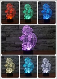 Wholesale Chinese Touch Lamps - CHINESE Innovative tortoise 3D Night Lights for home decoration Seven Colors RGB Led Touch Lamp as Creative Gifts USB
