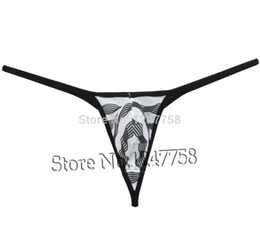 Wholesale Men Tongs - Men's Unique Stripe Mesh Tongs Underwear Bluge Pouch Bikinis G-Strings