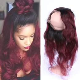 Wholesale Two Color Frontal Closure - 360 lace frontal with adjustable strap 22.5x4x2 two tone 1b 99j burgundy ombre hair body wave 360 degrees closure with baby hair