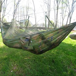 Wholesale Cotton Net Hammock - Wholesale- Portable Indoor Outdoor Hammock for Backpacking Camping Hanging Bed With Mosquito Net Sleeping Hammock