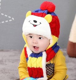 Wholesale Scarfs Bear For Kids - 5colors winter hat baby bomber hat Kids cap with ear flaps bear Shaped knit Wool Long-eared hat & scarf For 1-3 Years old girls boys