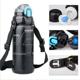 Wholesale Drinking Belt - 304 Stainless Steel 800ML Vacuum Cup Duble Lid Ultimate Insulation Fashion Traveling Outdoor kettle Water Drinking Bottles Mugs With Belt