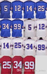 Wholesale Kelly Thomas - Elite Stitched Style #5 Taylor #25 McCOY #34 THOMAS #99 DAREUS #14 Watkins #12 Kelly White Blue Red Mix Order Home Road Jerseys Free ship