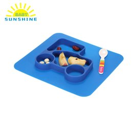 Wholesale Baby Melamine Bowls - New Melamine Baby Infant Cute Feeding Plate Fruit Dishes Kids Blue Silicone Divided Placemat Toddler Plate Bowl Child Tableware