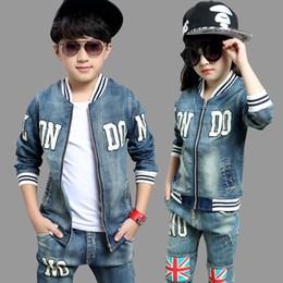 Wholesale Girls Long Coat Size 12 - Wholesale- kids jeans for girls boys sets teenage baby jacket children coat +long pant 2 pcs age size 8 9 10 11 12 15 years resale clothing