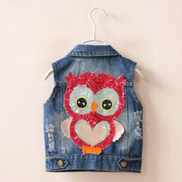 Wholesale Denim Coat Girl - 2017 Spring Summer New Girl Waistcoat Sequins Owl Cartoon Denim Coat Children Clothing 2-7Y 18505