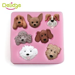 Wholesale Cheap Cute Dogs - 1pc Cute Dog Head Shape Silicone Fondant Mold 3D Candy Soap Baking Moulds Cheap Cake Decorating Tools