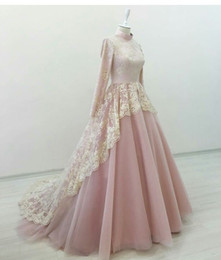 Wholesale High Neck Elegant Dresses - Elegant Muslim Evening Dresses High Neck Long Sleeves Lace Tulle White Pink Hijab Arabic Ball Gown Prom Dresses Formal Gowns Sweep Train